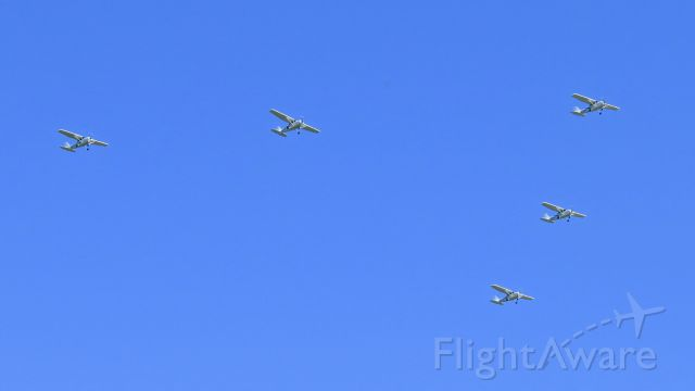 Cessna Skyhawk (N539KS) - N539KS leads four other ships as they do a fly-over for a local charity golf event aimed at fundraising.