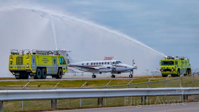 Beechcraft Super King Air 350 (N111M) - December 26, 2018 - Water cannon salute for 40-year pilot retiring.