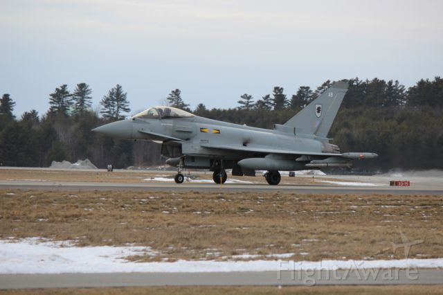 ZJ912 — - One of a trio of Typhoons taxis for takeoff at Bangor International Airport.