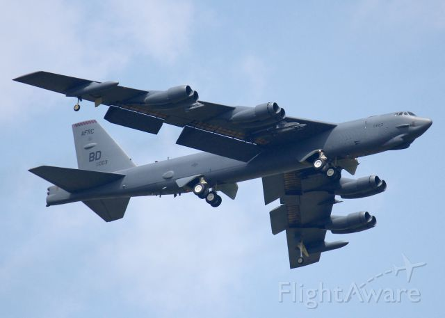 Boeing B-52 Stratofortress (60-0003) - Landing at Barksdale Air Force Base. With weapons pods attached but empty.