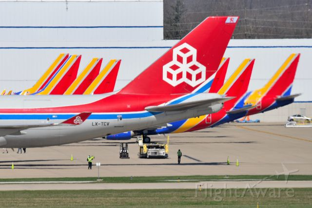 Boeing 747-400 (LX-TCV) - Surrounded by parked SWA 737's