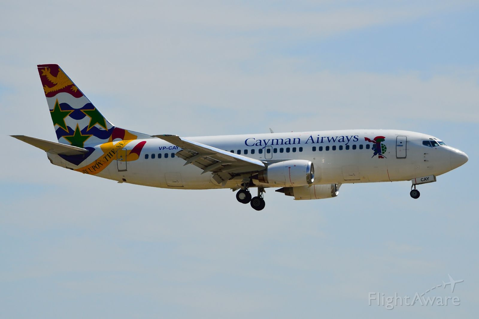 BOEING 737-300 (VP-CAY) - Cayman Airways B737-300 VP-CAY Arriving KDFW 08/21/2013