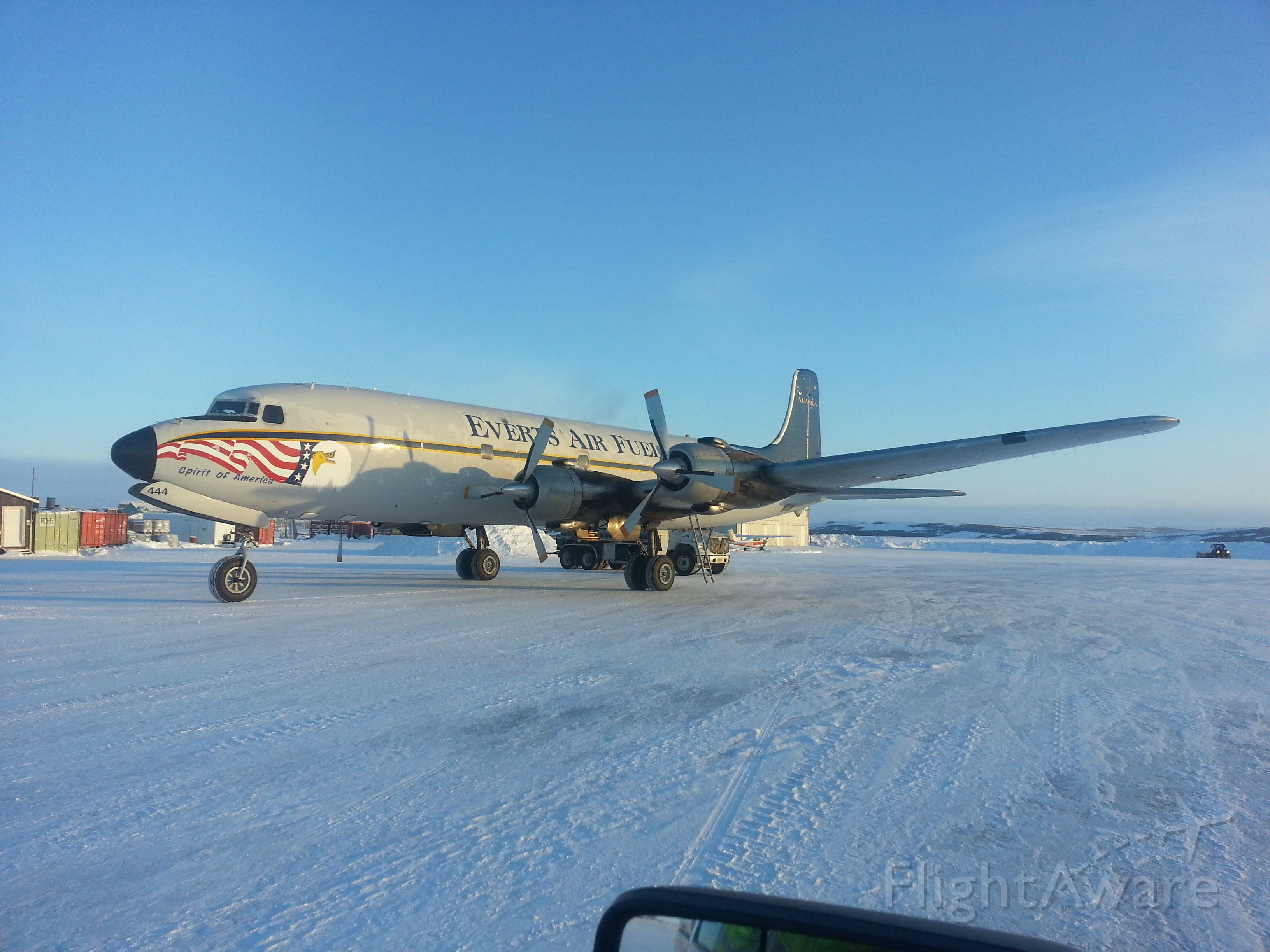 Douglas DC-6 (N444CE) - Everts Air Fuel picking up a load of heating fuel to deliver to one of the villages. Kotzebue Alaska, 02.01.2013