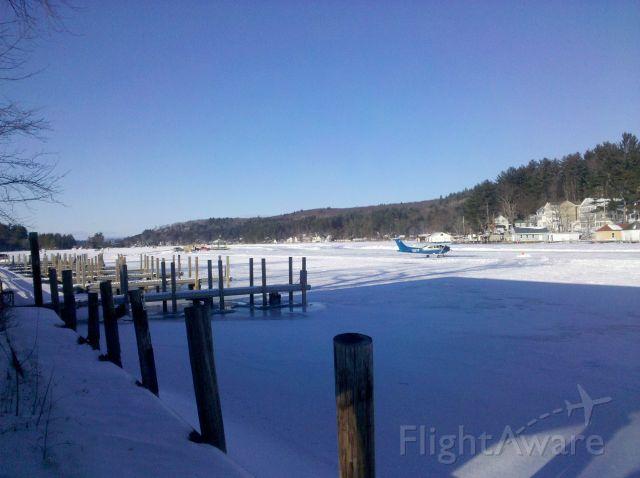 Cessna Skylane (N197F) - Landing on the ice in Alton Bay, NH