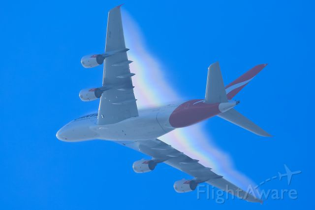VH-OQH — - Powering through 4000 feet enroute to Singapore then London. Seen here creating an awesome rainbow vapour show.