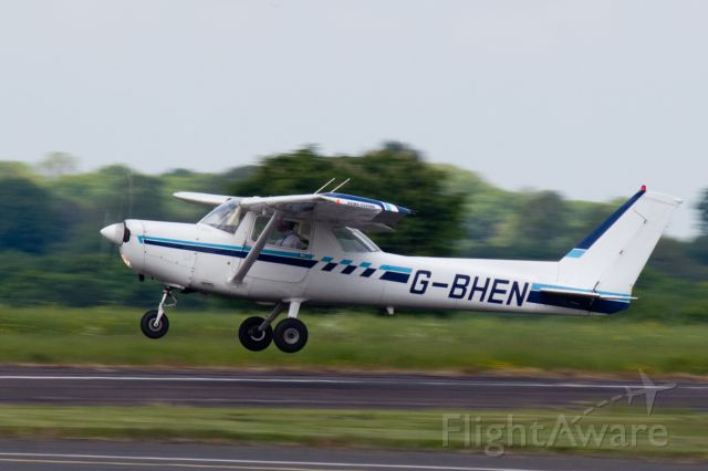 Cessna 152 (G-BHEN) - Taking off from 28 as seen from the clubhouse