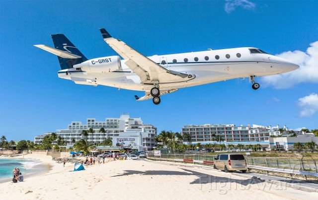 IAI Gulfstream G200 (C-GRST) - A awesome sight to see over the beach at St Maarten.