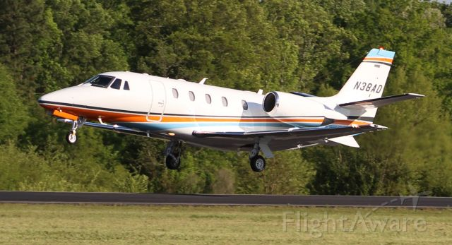 Cessna Citation Excel/XLS (N38AD) - A Textron (Cessna) 560XL Citation XLS+ departing Boswell Field, Talladega Municipal Airport, AL, after the NASCAR GEICO 500 race at Talladega Super Speedway - late afternoon, April 25, 2021.