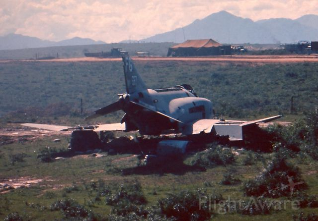 — — - McDonnell F-4 Phantom. Hit by ground fire, crash landed at Dang Ha Vietnam, just South of the DMV. Stripped of useful parts and abandoned in place. Summer 1966