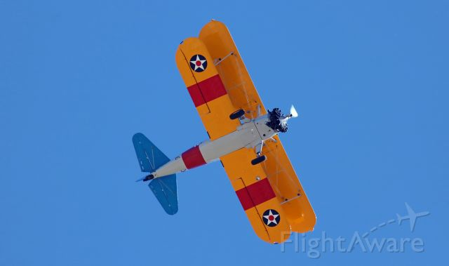 Boeing PT-17 Kaydet (N65011) - This first photo of N65011, Ageless Aviation Dream Foundation's newest Stearman, is a capture of it as it is being flown directly over the Northern Nevada Veteran's Memorial Cemetery yesterday (Memorial Day, 2020) in an honorary fly-by tribute to the veterans in final rest there.