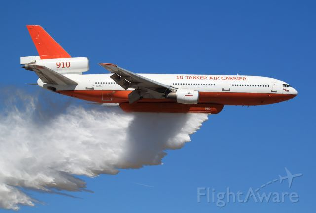 McDonnell Douglas DC-10 (N450AX) - This is the Original Tanker 910, N450AX, DC 10-10, CalFire contracted, first Air Tanker for 10 Tanker Air Carriers fleet,br /later replaced with Tanker 910, N612AX, DC 10-30.br /br /Flyby demonstration, Redlands, Ca., Airshow 10-9-2010