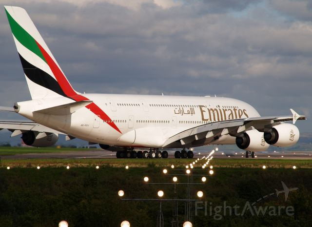 Airbus A380-800 (A6-EDJ) - Emirates 18 lining up on runway 05L.