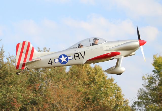 Vans RV-4 (N63BE) - A VANS RV-4 airborne after departing Moontown Airport in Brownsboro, AL during the EAA 190 Fly-In on October 15, 2016.