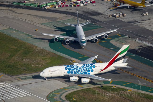 Airbus A380-800 (A6-EOD) - Flying with Star Helicopter over LAX...So long until we meet again