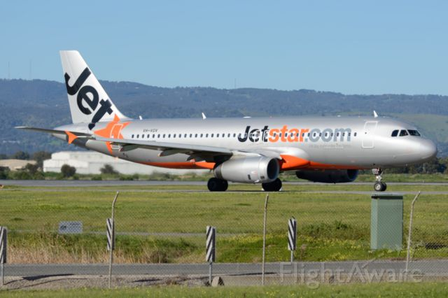 Airbus A320 (VH-VGV) - On taxiway heading for take-off on runway 05. Tuesday 22nd July 2014.