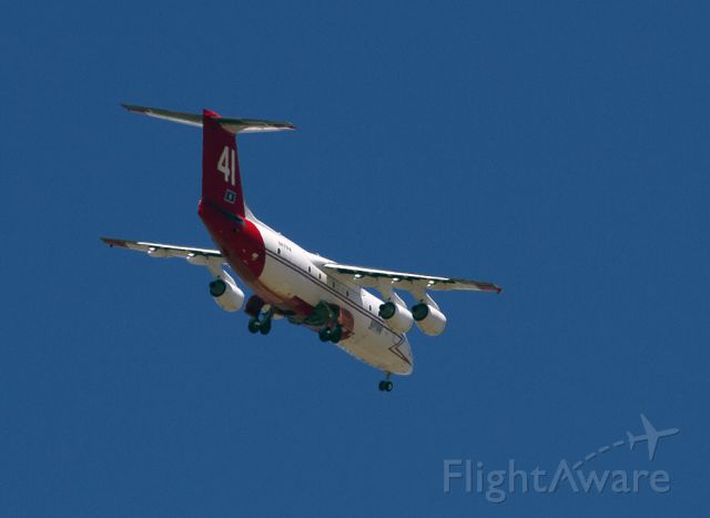 British Aerospace BAe-146-200 (N471NA) - Gear down on approach to Siskiyou County Airport.