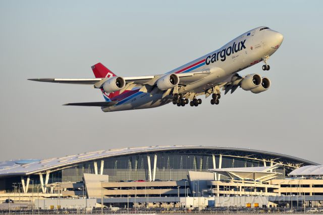 BOEING 747-8 (LX-VCK) - 23-R departure on 02-14-20 headed on up to Chi-town (ORD) Happy Valentines Day!