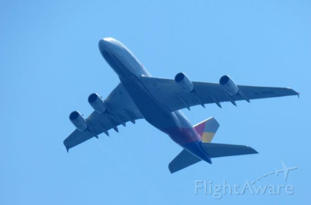 Airbus A380-800 (HL7635) - Shown here is an Asiana Airlines Airbus A380-800 a few minutes until landing in the Summer of 2018.