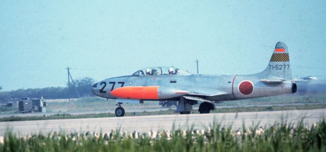 71-5277 — - A Japanese Self-Defense Force F-80 Shooting Star jet, taxis to a runway at MCAS Iwakuni, Japan, 1967.