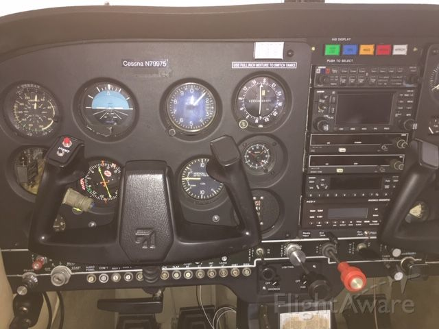 Cessna Skyhawk (N79975) - Flight deck from the pilot position.  Still waiting for Turn Coordinator to come back from overhaul.