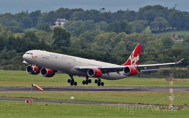 Airbus A340-600 (G-VYOU) - virgin atlantic a340-642 g-vyou landing at shannon to bring back the passengers from the diverted flight to gatwick 15/8/18.
