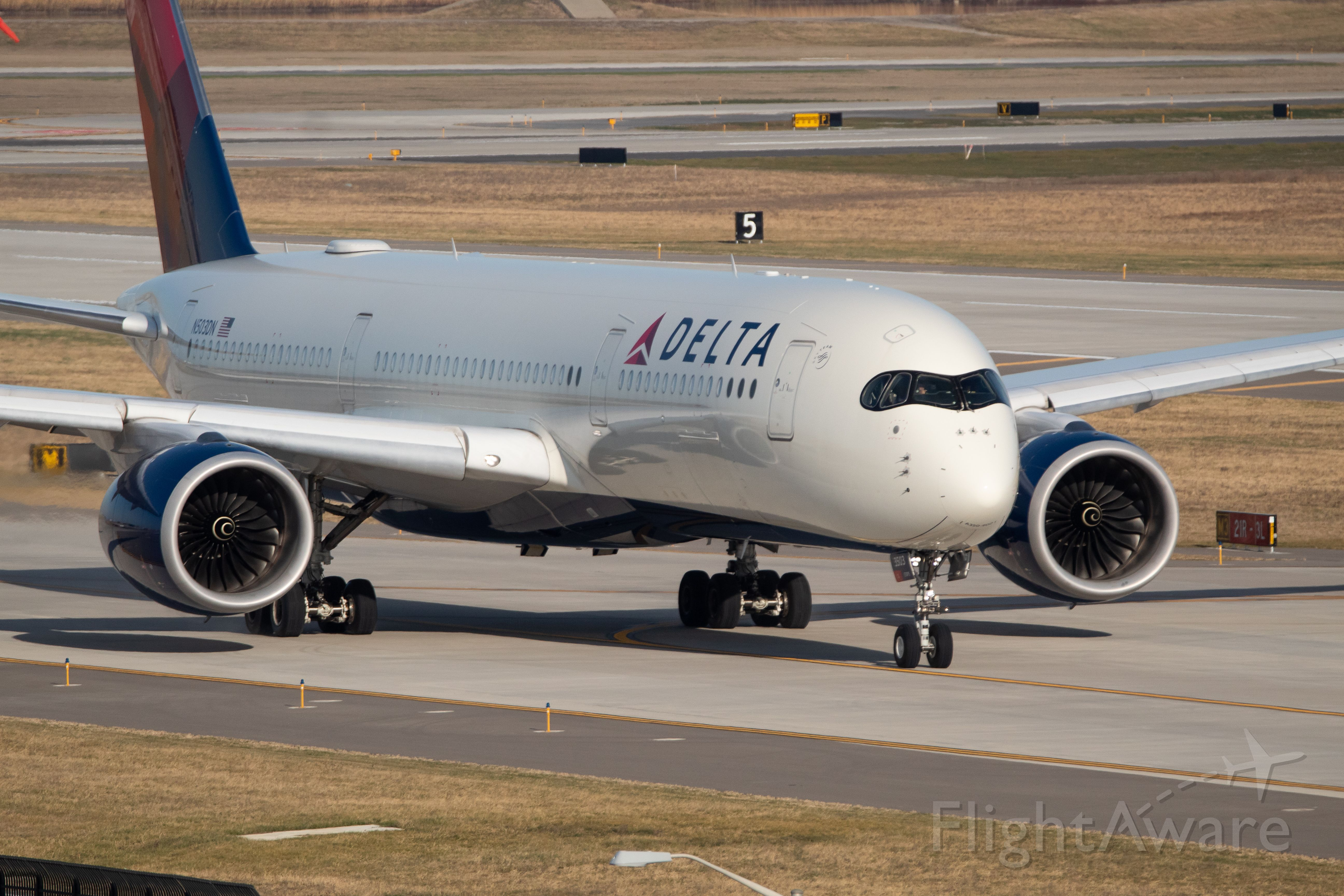 Airbus A350-900 (N503DN) - Delta A350-900 taking the Detroit Lions to Charlotte to play the Panthers.