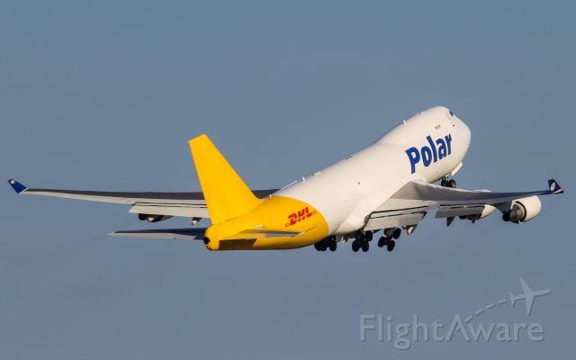 Boeing 747-400 (N487MC) - A Polar Air Cargo 747 departs CVG.