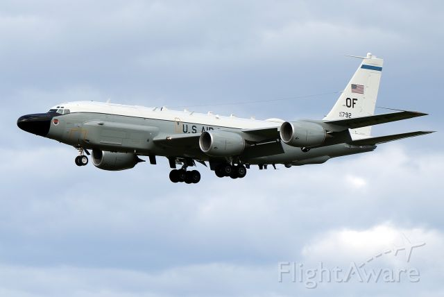 Boeing RC-135 (63-9792) - 'Olive 56' from the 38th RS (Reconnaissance Squadron) of the 55th Wing assigned to Air Combat Command. Based at Offutt AFB, Omaha, Nebraska. Arriving from RAF Mildenhall for a fuel stop before heading home.