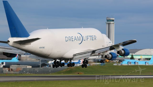 Boeing Dreamlifter (N747BC) - Boeing 747-4J6(LCF) Large Cargo Freighter Dreamlifter arriving at KPAE from NGO Nagoya Japan by way of PANC Anchorage