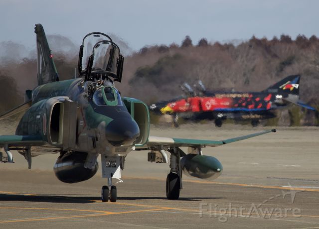"""McDonnell Douglas F-4 Phantom 2 (57-6907) - RF-4EJ of the 501st squadron returning from a sortie while one of two specially painted F-4EJs of the 302nd squadron awaits in the back ground. (please view in """"Full"""" for highest image quality)"""