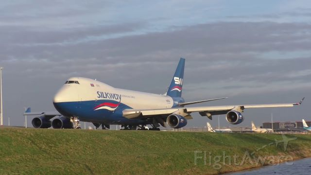 Boeing 747-400 (4KSW008) - B744 Silk Way West manouvres on the ground throught taxiway Quebec