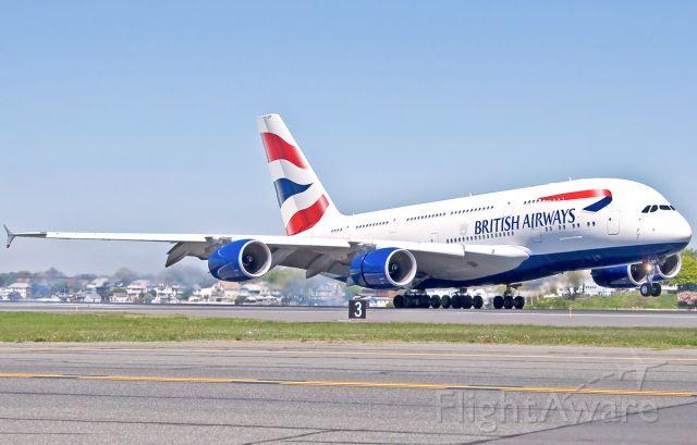 Airbus A380-800 (G-XLEH) - some tire smoke from BA213 Super Speedbird landing RWY22L