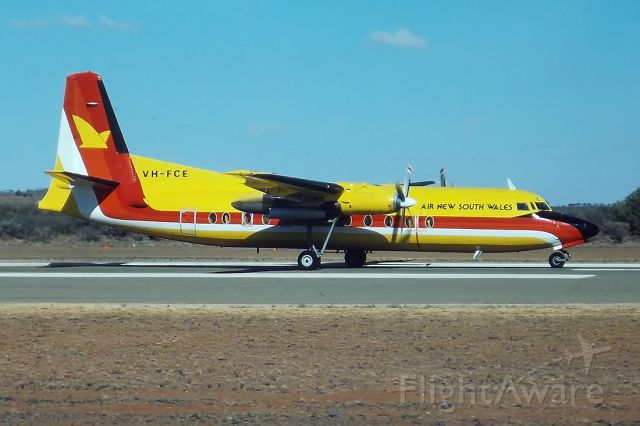 VH-FCE — - AIR NEW SOUTH WALES - FOKKER F-27-500 FRIENDSHIP - VH-FCE (CN 10558) - BROKEN HILL NSW. AUSTRALIA - YBHI (24/4/1993) TAKEN IN 1993 WHILST ON A SPOTTING TRIP AROUND NSW. AND QUEENSLAND. 35M SLIDE CONVERSION USING A LIGHTBOX AND A NIKON L810 DIGITAL CAMERA IN THE MACRO MODE.