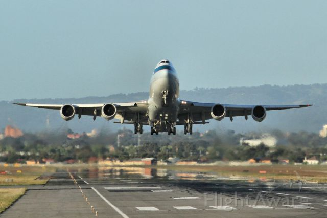 BOEING 747-8 (B-LJB) - The departure of the first B747-8F to visit YPAD on flight CX22 to Hong Kong.