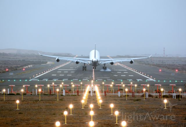 Airbus A340-300 (9H-SOL) - Landing on runway 03L and under a sandstorm.