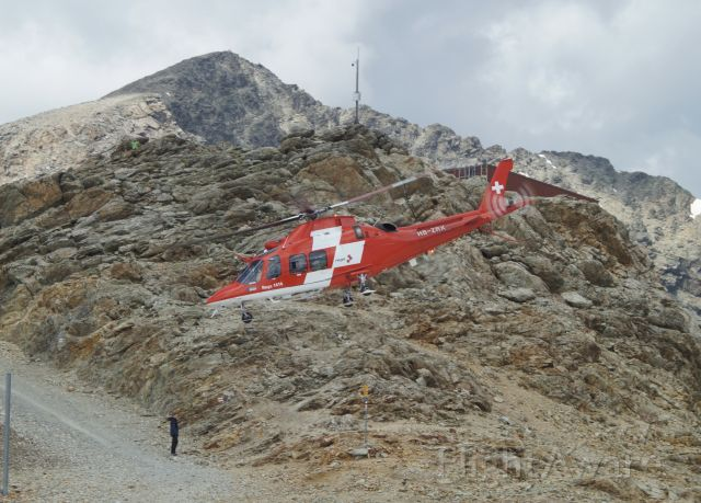 SABCA A-109 (HB-ZRX) - Take-off from Diavolezza (2973m) after a rescue at Piz Bernina that sadly involved a fatality