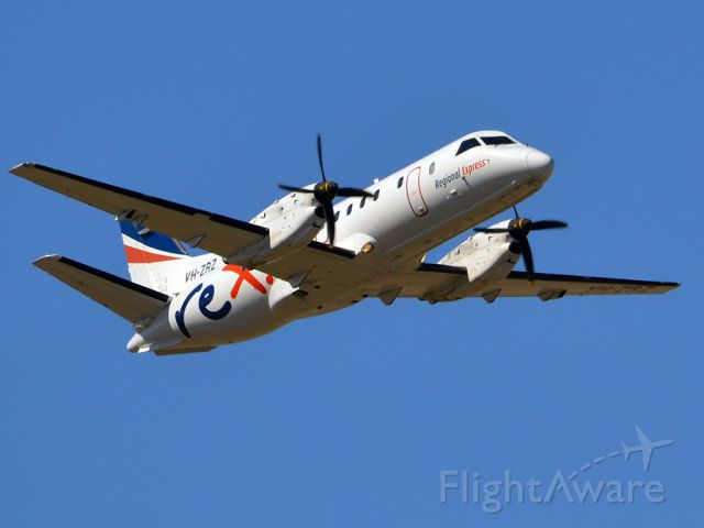 Saab 340 (VH-ZRZ) - Getting airborne off runway 23 on a beautiful Adelaide autumn day. Thursday 12th April 2012.