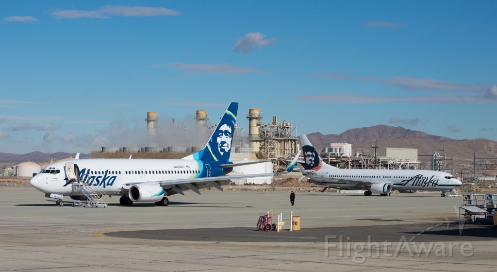 — — - N618As (Foreground) B737-7 was just released from the paint shops in the new Alaska Airlines livery. N534AS B737-8 (Background) just landed in KVCV to also receive the new livery.