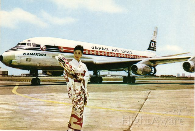 McDonnell Douglas DC-8-60 (JA8006) - This is a Post Card from the early 1970s. I did not photograph this!<br />Here is one especially for our Japanese members.<br />Posing on the tarmac is a Japan Air lines McDonnell Douglas DC8 along with a Stewardess in her Komono uniform at Toyko Int'l (Haneda) Airport. Kamakura appears under the cockpit windows and is a city south of Tokyo they appear to be honoring. The text on the reverse indicates the approximately 20-hour flight between Tokyo and Paris back then.
