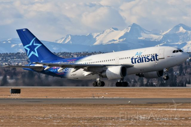 Airbus A310 (C-GSAT) - Air Transat Airbus A310-308 departing YYC on Nov 23.