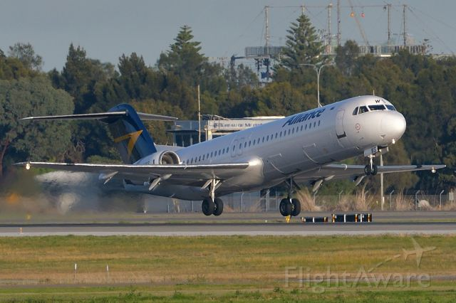 Fokker 100 (VH-XWS) - Adelaide, South Australia, May 11. 2020. Alliance Fokker 100 departs runway 05 for mining town, Moomba in South Australia's north.