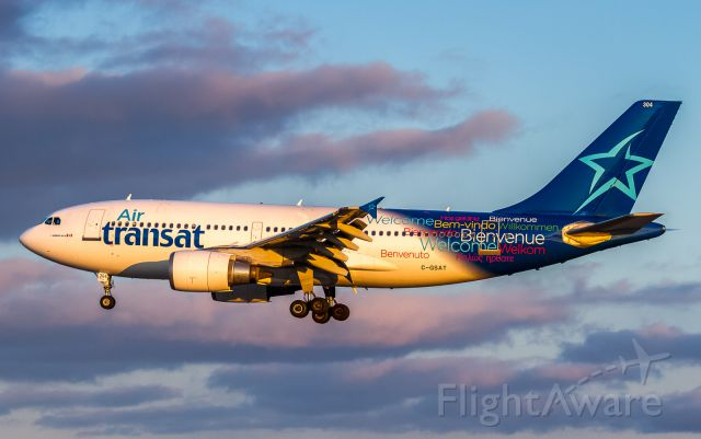 Airbus A310 (C-GSAT) - Air Transat 472 arrives from Barcelona via Montreal, short finals for runway 06Lbr /April 8th 2018