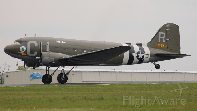 """Douglas DC-3 (N45366) - """"D Day Doll"""" taking off in the rain during the D-Day Squadron Kickoff Week, 17 May 2019."""