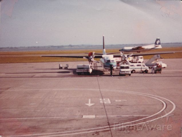 FAIRCHILD HILLER FH-227 (ZK-BXG) - here we see two fokker frienship aircraft at Auckland airport 1984 domestic airport ZK-BXG and ZK-BXF arriving of runway 5R from Wellington ZK-BXG is un loading from a flight from New Plymouth