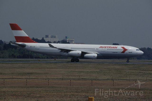 Airbus A340-200 (OE-LAG) - Departure at Narita Intl Airport Rwy16R on 1996/04/24