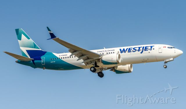 Boeing 737 MAX 8 (C-FNWD) - Westjet 247 arrives home from Halifax. New livery, what do you think?