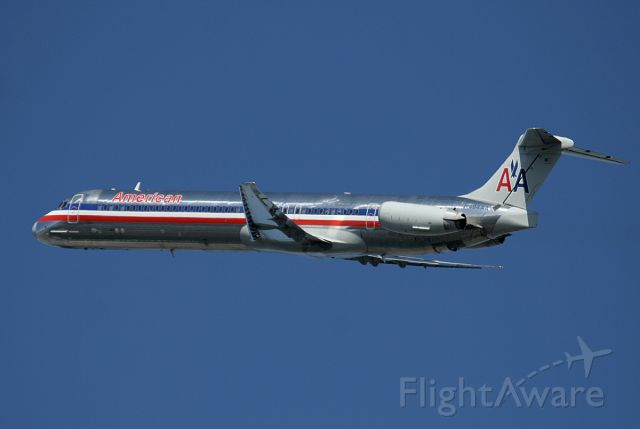 McDonnell Douglas MD-82 (N494AA) - AA 'Mad Dog' departing runway 33L for St. Louis, MO . Photo taken on February 28, 2008