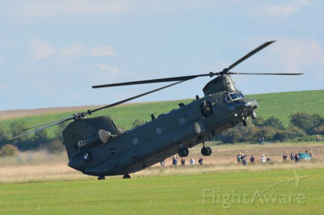 — — - RAF Chinook, reversing back to landing point after rolling forward – at the same angle of attack – for about 100 metres. Duxford Air Show 20 September 2015.