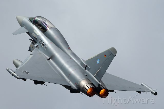 — — - Lufwaffe Typhoon 2-seater on a rapid departure out of RAF Fairford