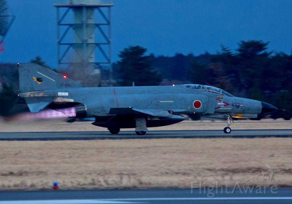 """McDonnell Douglas F-4 Phantom 2 (17-8439) - JASDF F-4EJ of the 301st Tactical Fighter Squadron, the """"Frogs"""" departs Hyakuri Air Base in full afterburner for an evening sortie"""
